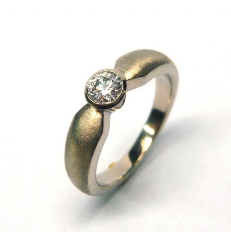 Ring; 585/-Weissgold; Brillant tw/si 0,25 ct. - Marcus Götten Goldschmiedemeister - Köln