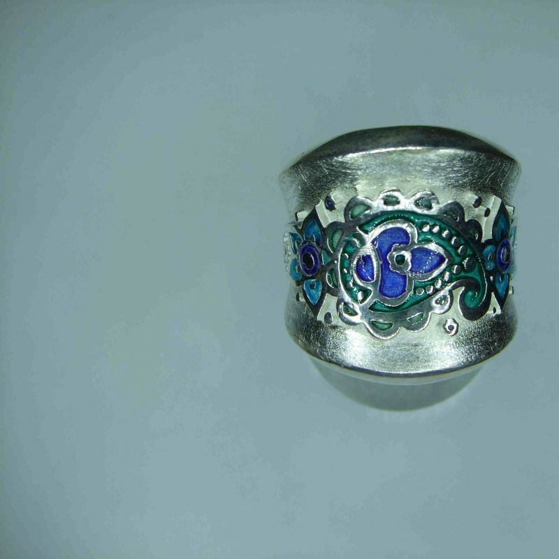 Drachenfels Design  D MOK 12-1 AG Ring Silber Memories of Kashmir Mittlerer Ring 25 mm breit mit blauem Lack - Juwelier Charming - Schwetzingen