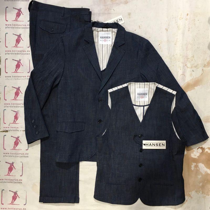 Hansen SS2017: 3 piece suit real indigo cotton/viscose/linen, M - L - XL, EUR 775,- - Kentaurus Pferdelederjacken - Köln