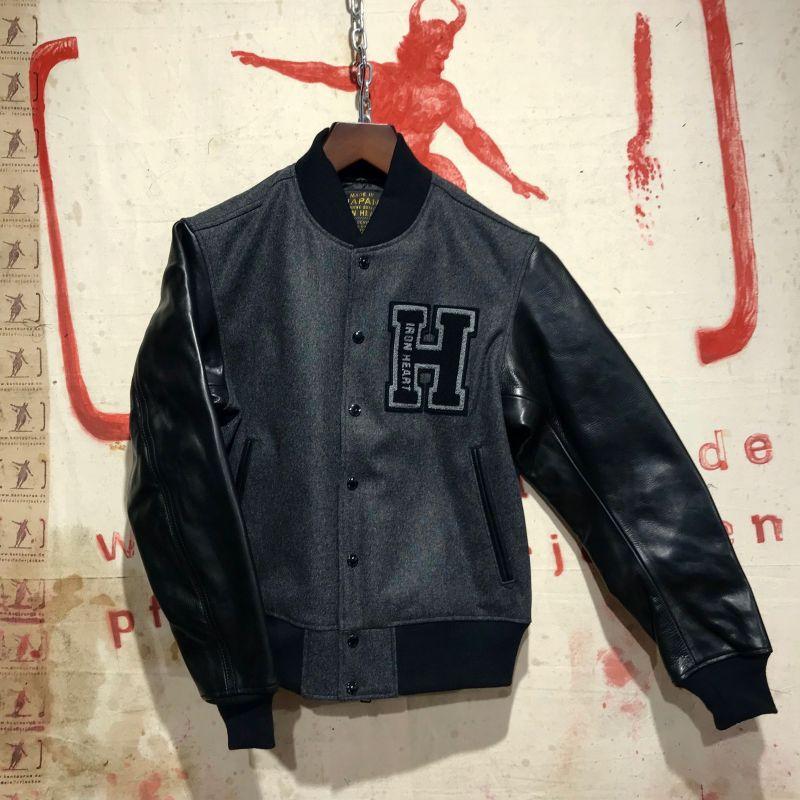 Iron Heart: IHW-11 grey selvedge melton wool and black horsehide Varsity Jacket, sizes L and XL, EUR 780,- - Kentaurus Pferdelederjacken - Köln
