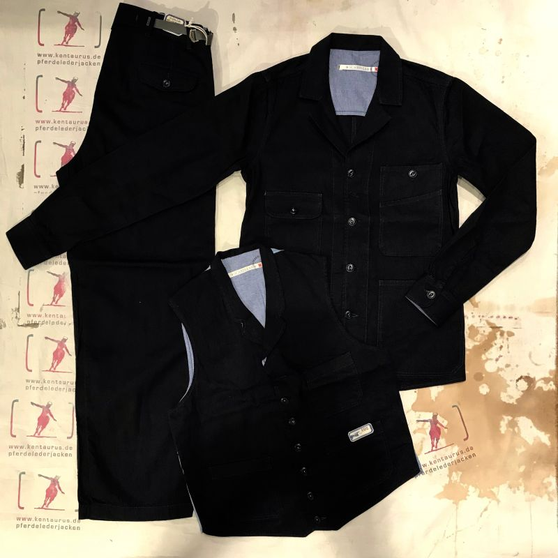 Scartilab SS18: 3 piece 100% cotton black navy work suit, sizes M - XXXL, EUR 806,- - Kentaurus Pferdelederjacken - Köln