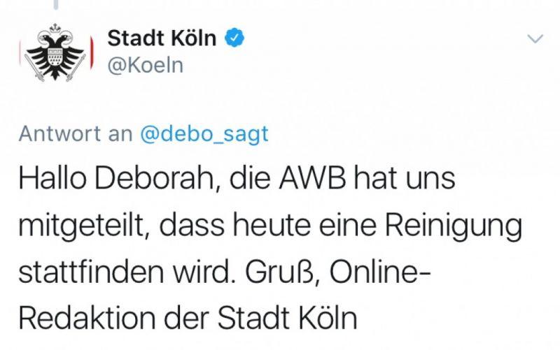 Quelle: Twitter Stadt Köln (@Koeln)