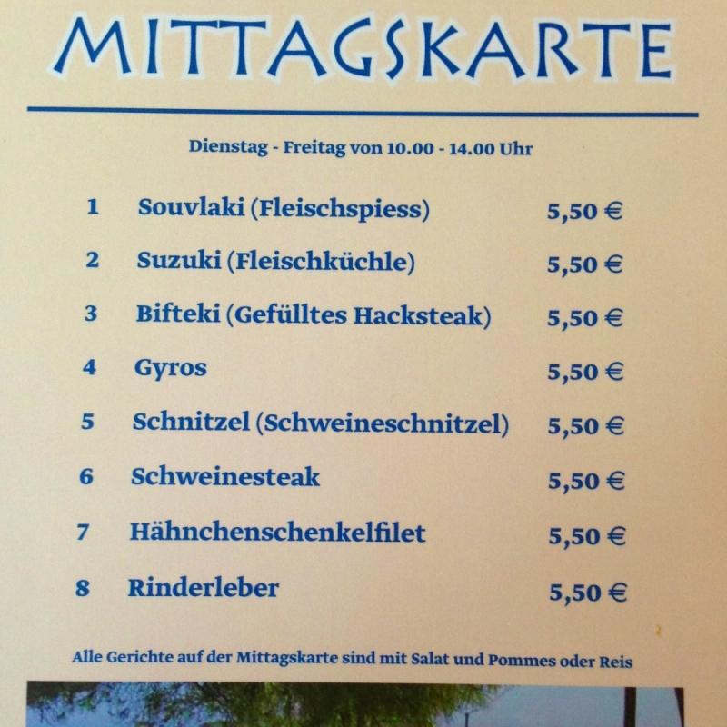 Mittagskarte - SALONIKI - Karlsruhe