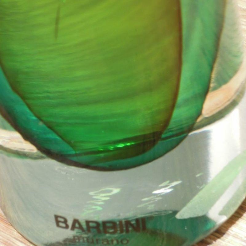 Barbini Kerzenständer, smaragdgrün mit kristallklar, mundgeblasenes Glas aus Murano. Höhe 18 cm ø 7 cm. Preis: € 199,00 - Marcolis Supreme Italian Products - Stuttgart