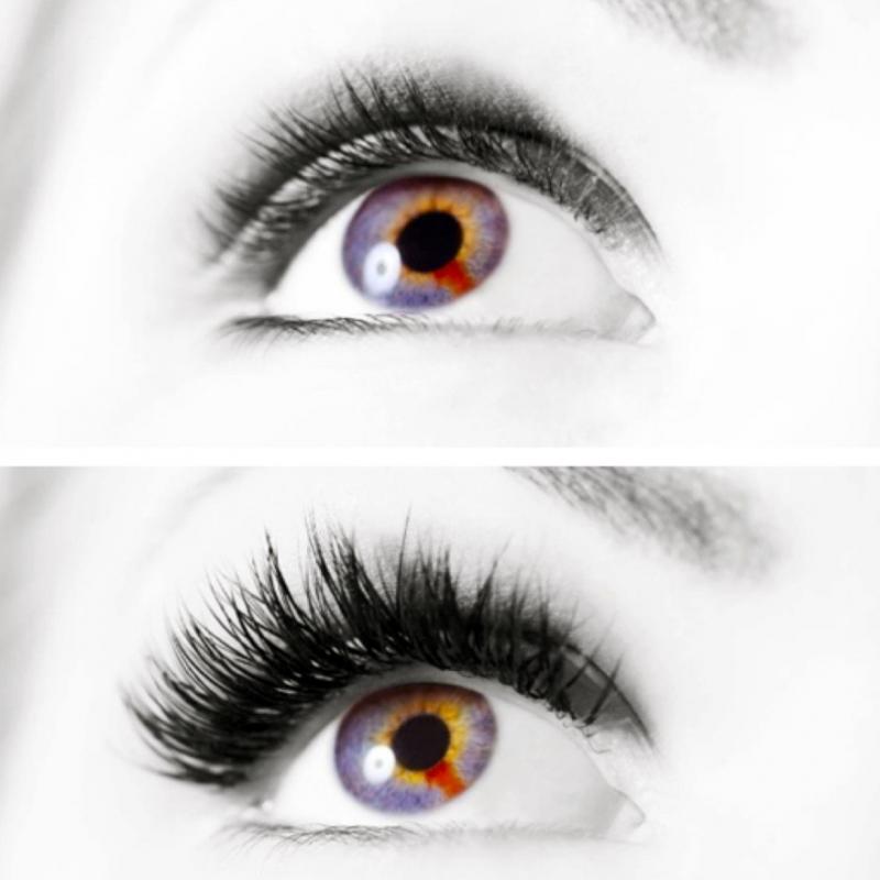 Vorher/nachher Mascara Look mit Augenblick Wimpern Technik - The Beauty Company - Filderstadt