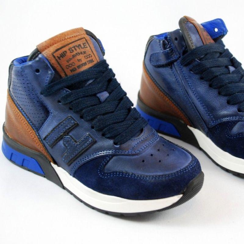 HIP Style Leder Sneaker. Kinderschuhe im trendigen Design in dunkelblau und braunen Leder. Für Jungs und Mädchen gibt es in der www.augsburger-schuhkiste.de - Augsburger Schuhkiste - Augsburg