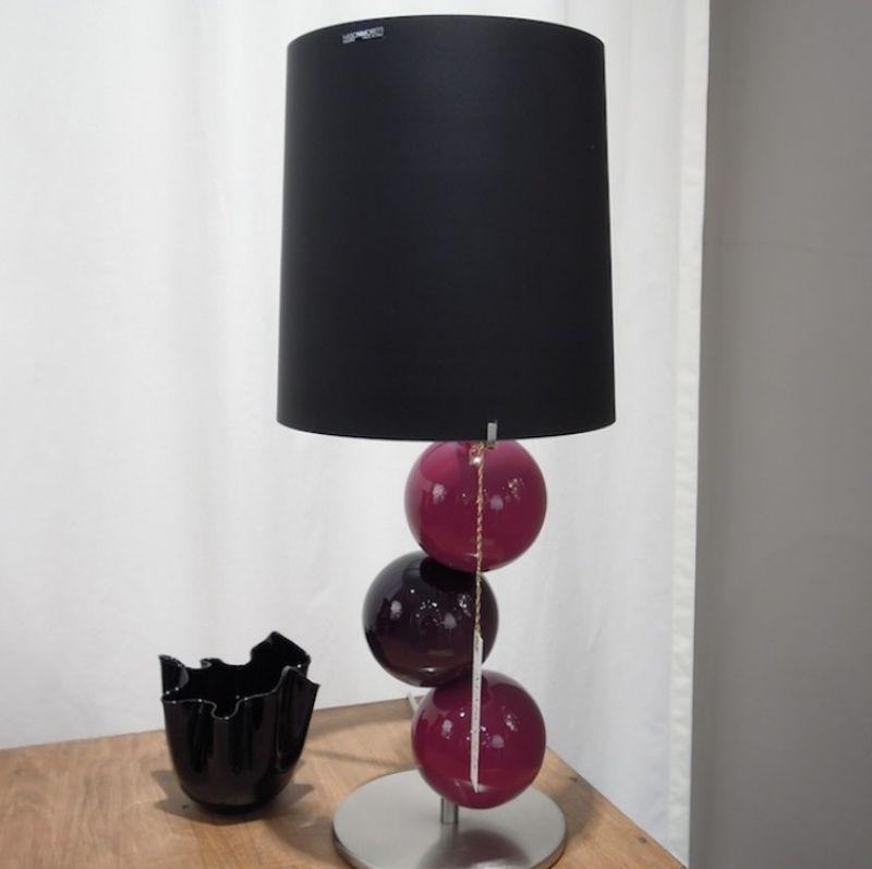 1923 Tischlampe von Nason Moretti, mundgeblasenes Muranoglas, Höhe 58 cm Durchmesser 24 cm, Lampenschirm schwarz - Marcolis Supreme Italian Products - Stuttgart