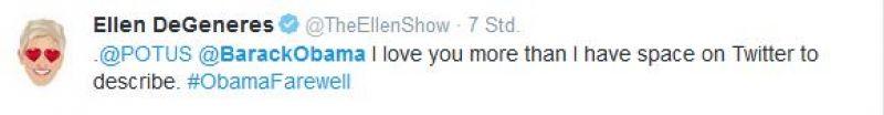 Twitter Screenshot / Ellen DeGeneres / https://twitter.com/TheEllenShow/status/819017898253373441