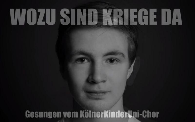 KölnerKinderUni-Chor singt Udo Lindenbergs Wozu sind Kriege da - (c) Universität zu Köln auf Youtube | https://www.youtube.com/watch?v=ABMBOVc__6M&t=37s