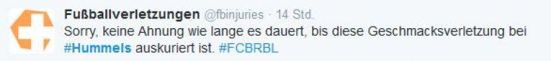 Twitter Screenshot / Fußballverletzungen / Mats Hummels / https://twitter.com/fbinjuries/status/811690690887450629?lang=de
