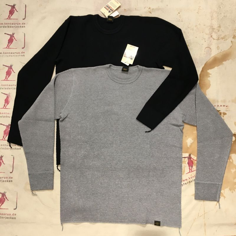 Iron Heart: IHTL-1700 extra heavy cotton knit thermal sweater, black and grey, S - XXL, EUR 178,- - Kentaurus Pferdelederjacken - Köln