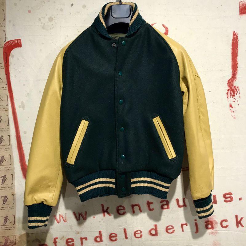 Aero: Letterman`s baseball jacket, moss green wool/buttermilk steerhide leather sleeves, here in size 34 for the Ladies, EUR 750,- - Kentaurus Pferdelederjacken - Köln