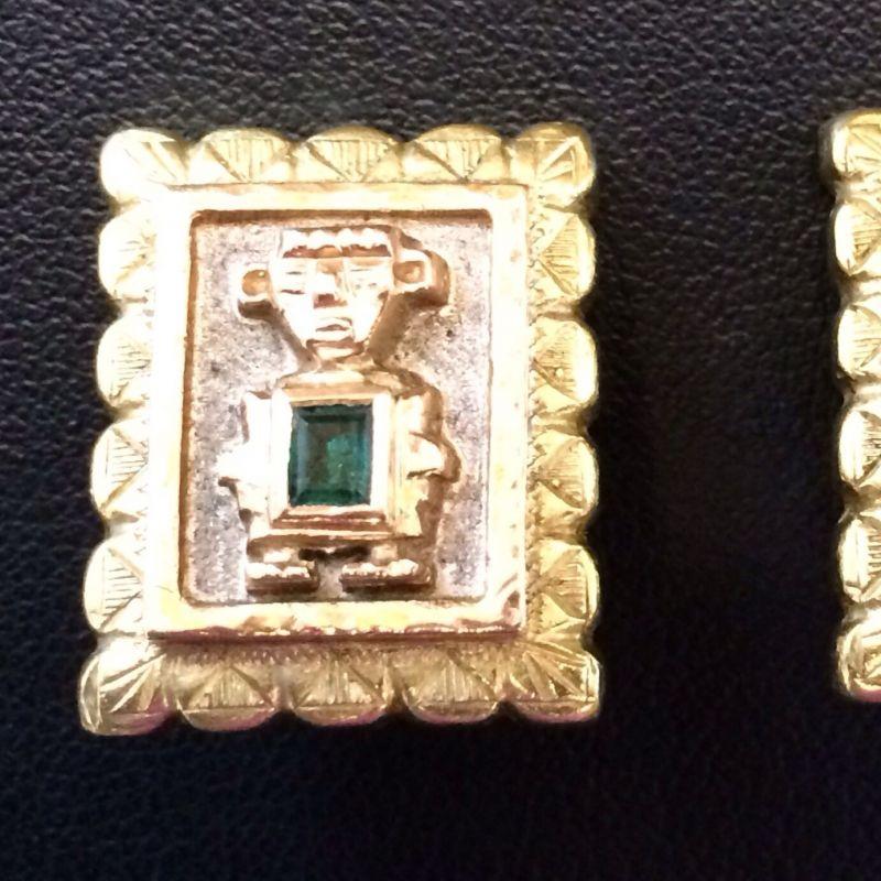 Antiker Inkaschmuck aus Südamerika in 18Kt.750 Gold mit tannengrünen Smaragden gefasst bestehend aus: 1 x Ring  1 x Paar Ohrringen 1 x Anhänger  Neupreis: 6.000.-€ Gesamtpreis: 2.500.-€ Sie sparen 60%! - Schwabengold - Stuttgart- Bild 4