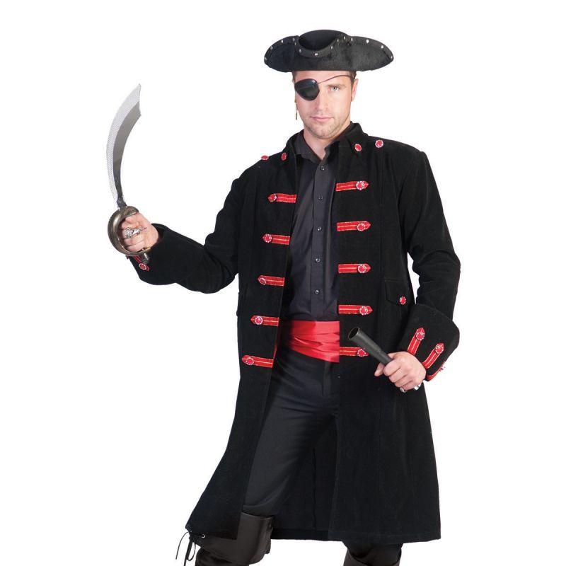 jacke-pirat-schwarz-rot<br> Piratenjacke für Herren mit den roten Verzierungen und Knöpfen an der Knopfleiste <br> Home/Kostüme/Piraten/Herren<br> [http://www.pierros.de/produkt/jacke-pirat-schwarz-rot, jetzt auf Pierros.de kaufen]  - PIERRO'S in Mayen - Mayen