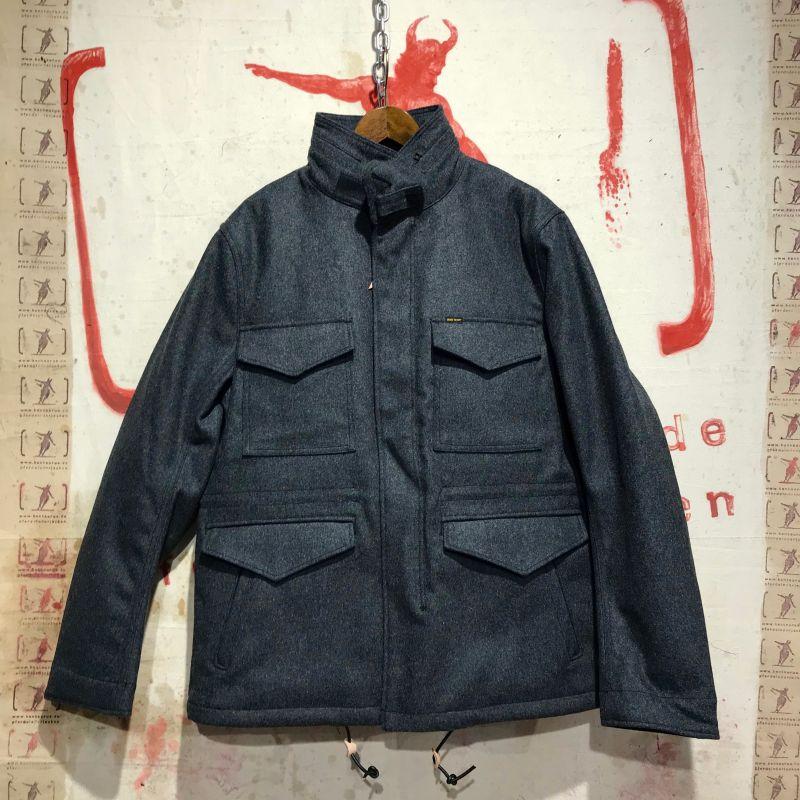 Iron Heart: IHW-13 grey ( and black) selvedge melton wool M65 field jacket, sizes M - XXXL, EUR 680,- - Kentaurus Pferdelederjacken - Köln
