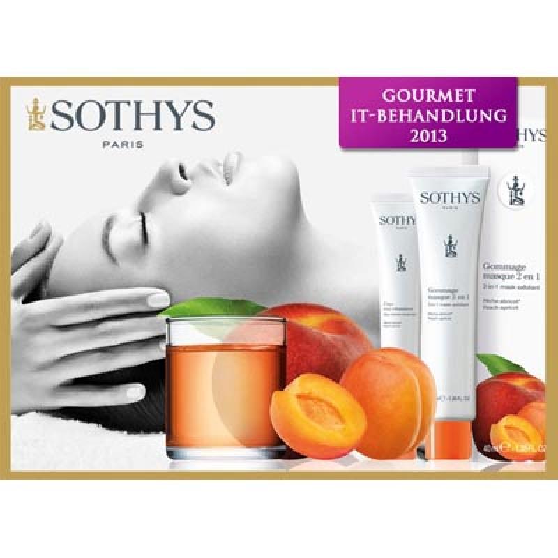 Die neue Frühling/Sommer IT-Behandlung von SOTHYS 2013 mit Pfirsich & Aprikose - So riecht der Sommer -   Gönnen Sie sich eine Extra-Portion Pflege! Verleihen Sie Ihrer Haut neue Energie und genießen Sie unsere lecker duftende Gourmet-Behandlung mit Pfirsich und Aprikose.   <<< Behandlungsdauer ca. 45 Minuten >>>  Wertvolle Extrakte von Pfirsich und Aprikose sorgen für einen Traum-Teint. Ein revitalisierender Vitamin-Cocktail und weiße Tonerde bringen Ihre Haut zum Strahlen. Entspannung pur verheißt die professionelle Gesichtsmassage mit reichhaltiger Karitébutter. Lassen Sie sich verwöhnen! - Skin-Aesthetik-Center Berlin - Berlin