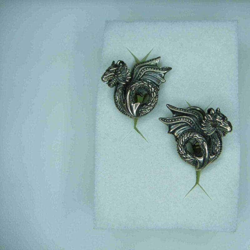 Drachenfels Design D DBT 21 VG Ohrschmuck Silber 925 geschwärzt Ohrstecker Drachenblut Clipstecker Drachen Vintage 19 mm - Juwelier Charming - Schwetzingen