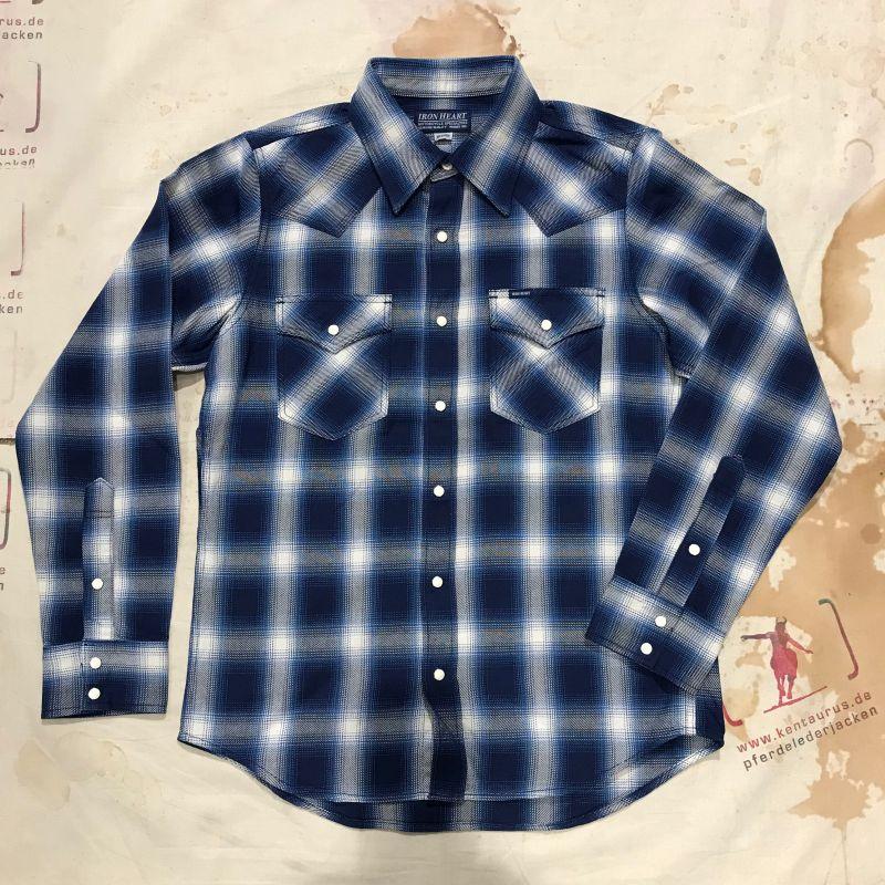 Iron heart. IHSH 196 indigo check flannel western shirt, M - XXXL, EUR 285,- - Kentaurus Pferdelederjacken - Köln