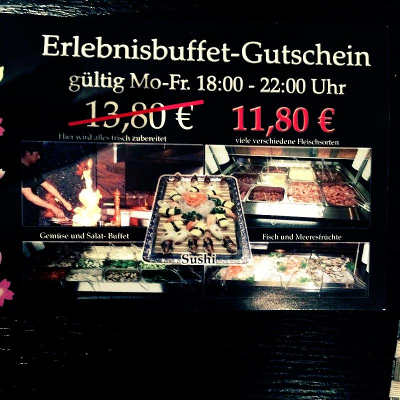 Erlebnisbuffet-Gutschein gültig Mo - Fr 18:00 - 22:00 Uhr - Asia Palast - Heilbronn