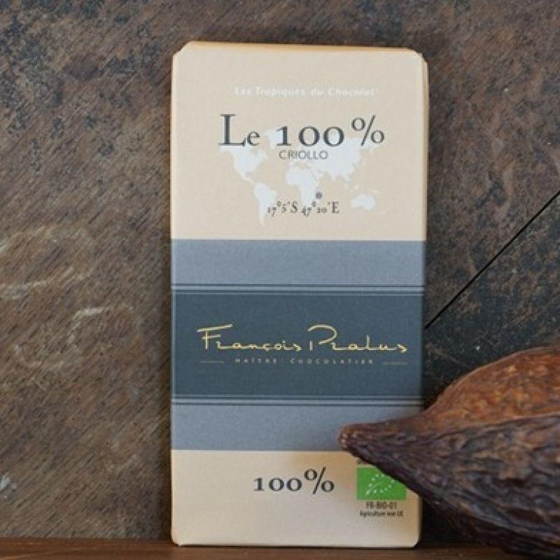 Zartbitterschokolade 100% Criollo vom pariser Edelchocolatier Francois Pralus. Edler Wildkakao zu einen feinen Schokokolade verarbeitet. 100g Tafel. - Probieren & Genießen - Mannheim