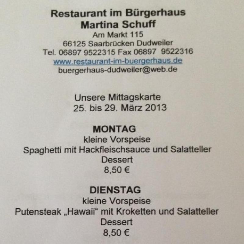 25.03. - 29.03. - Restaurant im Bürgerhaus - Dudweiler