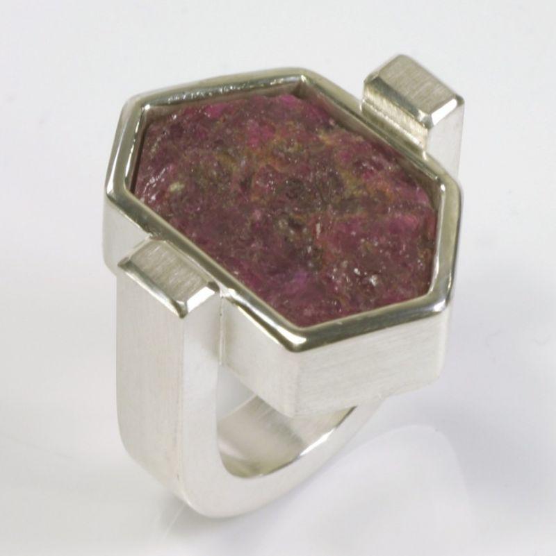 Ring, 925 Silber, Rubin Kristall - TRIMETALL Schmuck - Design - Objekte - Köln