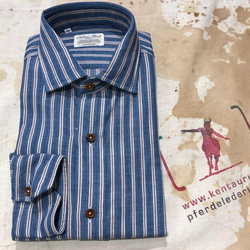 Salvatore Piccolo: es sind neue Hemden aus Neapel eingetroffen, wie z.B. dieses blau-rot-weiss gestreifte Baumwollhemd, Grössen 39 bis 46, EUR 180,- - Kentaurus Pferdelederjacken - Köln