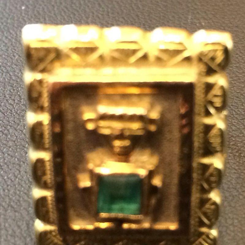 Antiker Inkaschmuck aus Südamerika in 18Kt.750 Gold mit tannengrünen Smaragden gefasst bestehend aus: 1 x Ring  1 x Paar Ohrringen 1 x Anhänger  Neupreis: 6.000.-€ Gesamtpreis: 2.500.-€ Sie sparen 60%! - Schwabengold - Stuttgart- Bild 5