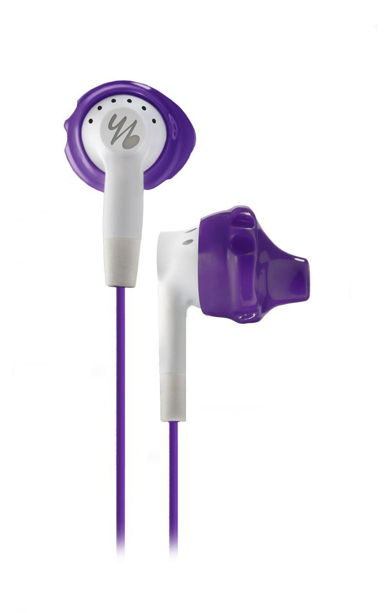Die yurbuds-Kopfhörer im trendigen lila wurden speziell für die kleineren Ohren von Frauen entwickelt.