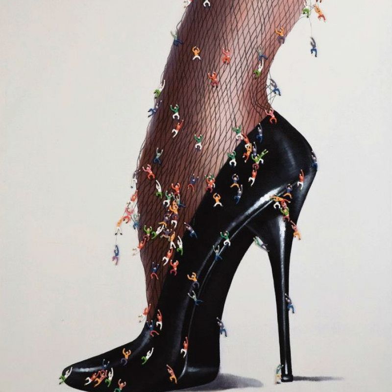 Ölbild Rebellion Stiletto  Material: Leinwand, Ölfarbe Maße: 170 x 150 x 1,5 cm   - Kunsthaus Schill - Stuttgart