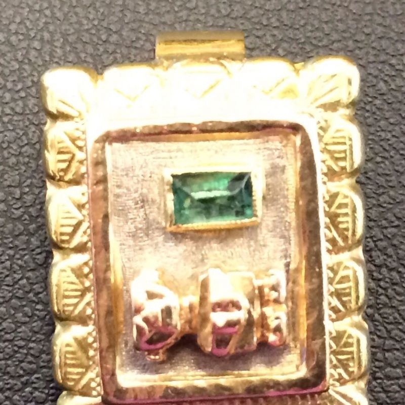 Antiker Inkaschmuck aus Südamerika in 18Kt.750 Gold mit tannengrünen Smaragden gefasst bestehend aus: 1 x Ring  1 x Paar Ohrringen 1 x Anhänger  Neupreis: 6.000.-€ Gesamtpreis: 2.500.-€ Sie sparen 60%! - Schwabengold - Stuttgart- Bild 3