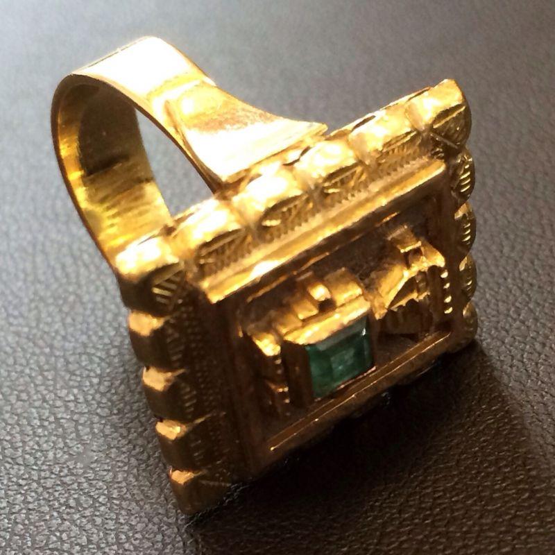 Antiker Inkaschmuck aus Südamerika in 18Kt.750 Gold mit tannengrünen Smaragden gefasst bestehend aus: 1 x Ring  1 x Paar Ohrringen 1 x Anhänger  Neupreis: 6.000.-€ Gesamtpreis: 2.500.-€ Sie sparen 60%! - Schwabengold - Stuttgart- Bild 7