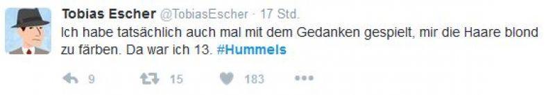 Twitter Screenshot / Tobias Escher / Mats Hummels / https://twitter.com/TobiasEscher/status/811648781687066624?lang=de
