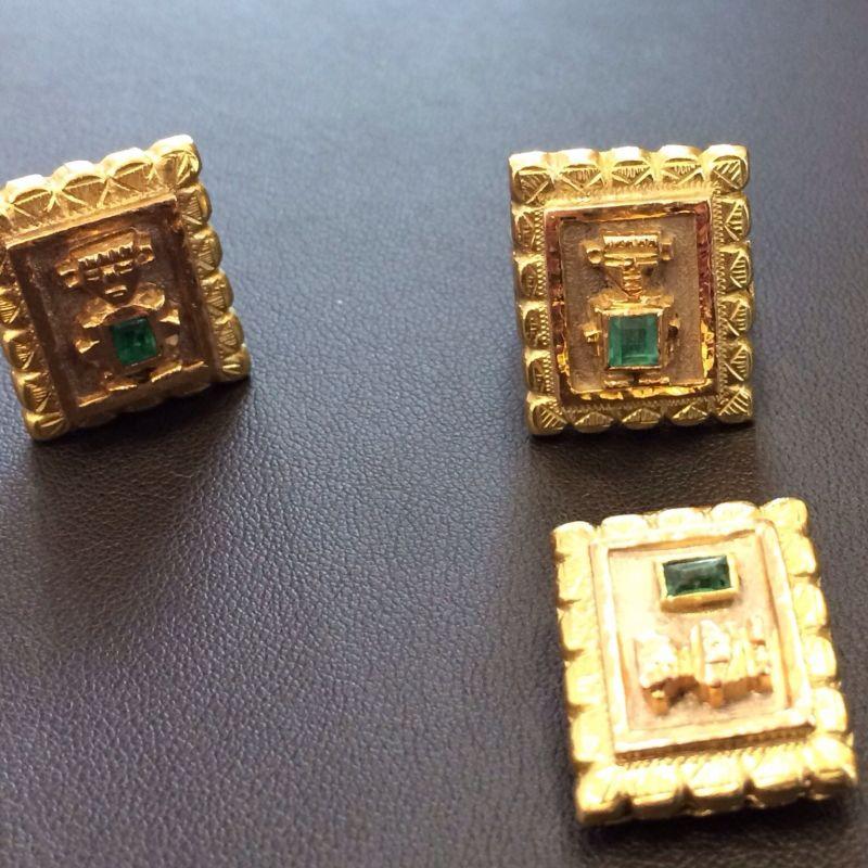 Antiker Inkaschmuck aus Südamerika in 18Kt.750 Gold mit tannengrünen Smaragden gefasst bestehend aus: 1 x Ring  1 x Paar Ohrringen 1 x Anhänger  Neupreis: 6.000.-€ Gesamtpreis: 2.500.-€ Sie sparen 60%! - Schwabengold - Stuttgart- Bild 2