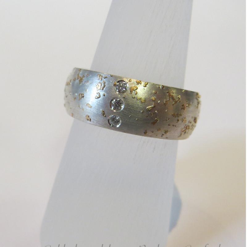 Sternenring  Silberring mit Feingold und 3 Brillanten - Goldschmiedekunst Barbara Göpfrich - Backnang