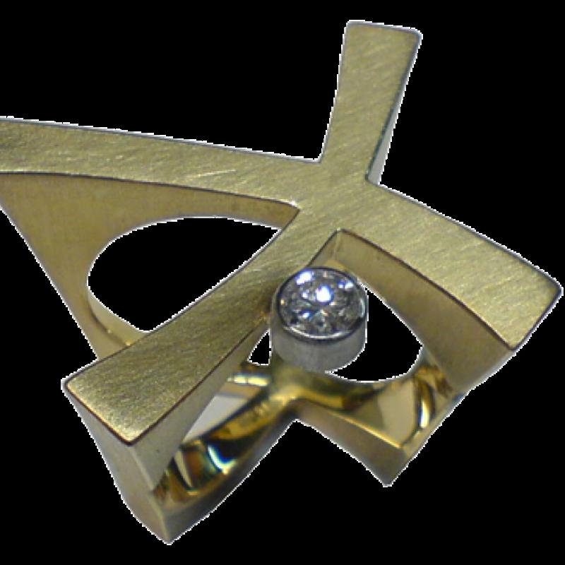 Ring aus Gold in X-Form mit einem Brillanten. - Blair Schmuck - Stuttgart