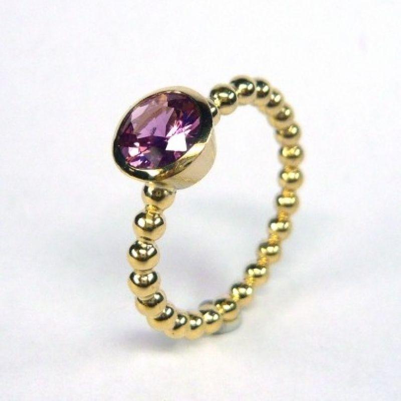 Ring, Gold 750/-, pink Safir 6,7 mm; 1,17 ct.  - Marcus Götten Goldschmiedemeister - Köln