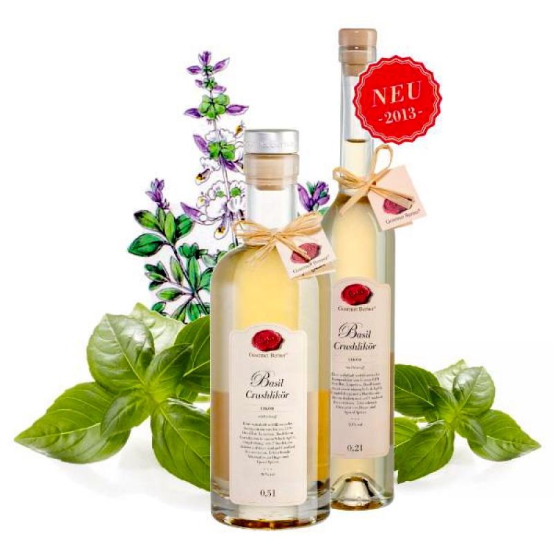 Unser Produkt des Monats Januar.  BASIL CRUSHLIKÖR  Eine wahrhaft verführerische Komposition von feinem Gin-Destillat, Limetten und Basilikum-Extrakt so wie einem Schuss Apfel. - Gourmet Berner - Remshalden