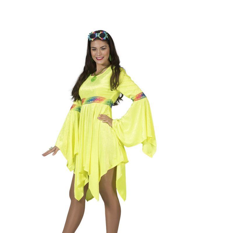 hippie-kleid-flora<br> Die 70er sind zurück! Figurbetonte Minikleider mit weitem Arm, grafischen Mustern, schrill, bunt und auffallend. Da kommt das gelbe Hippie Kleid genau richtig.  <br> Home/Kostüme/Hippie&Flower; Power/Damen<br> [http://www.pierros.de/produkt/hippie-kleid-flora, jetzt auf Pierros.de kaufen]  - PIERRO'S in Mayen - Mayen