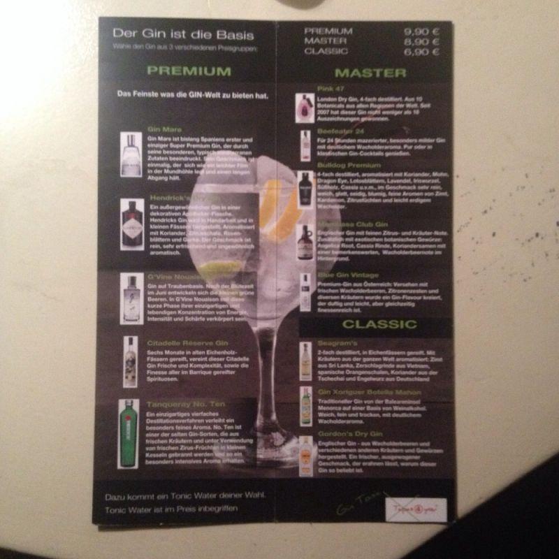 Unsere Gin Tonic Karte 13 Verschiedene Gins Und 6 Tonic Water