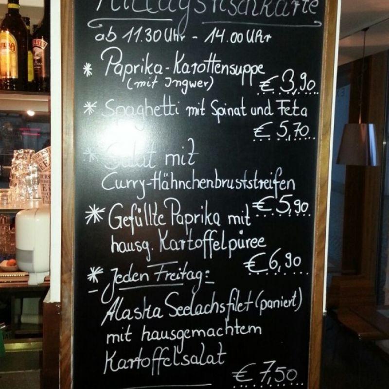 aktuelle Tageskarte von 11:30 - 14:00 Uhr - Cafe Bar Exlibris - Gerlingen