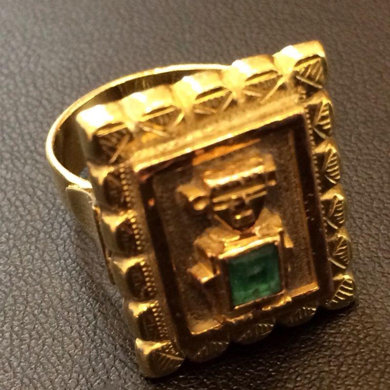 Antiker Inkaschmuck aus Südamerika in 18Kt.750 Gold mit tannengrünen Smaragden gefasst bestehend aus: 1 x Ring  1 x Paar Ohrringen 1 x Anhänger  Neupreis: 6.000.-€ Gesamtpreis: 2.500.-€ Sie sparen 60%! - Schwabengold - Stuttgart- Bild 6