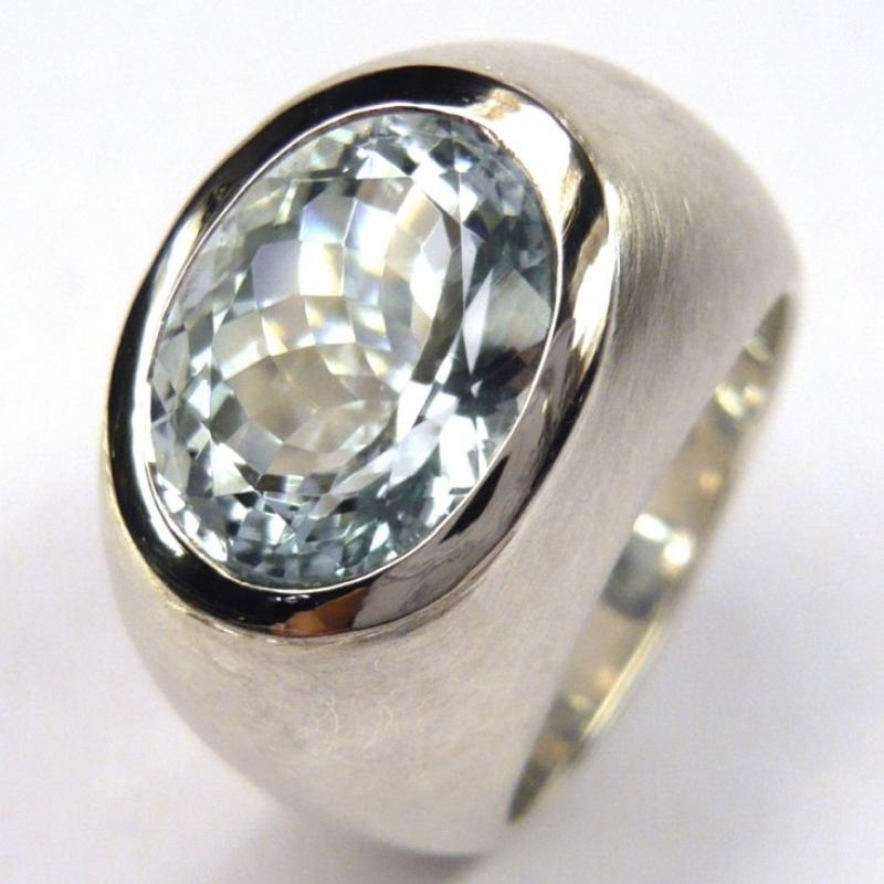 Ring; 925/- Silber, 950/-Palladium Fassung, Aquamarin oval facettiert - Marcus Götten Goldschmiedemeister - Köln